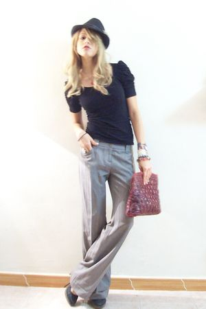 silver Diveco pants - black coach hat - black Steve Madden shoes - red Zara acce