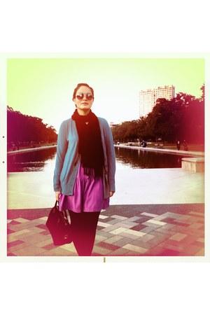 black Fendi bag - hot pink Urban Outfitters dress