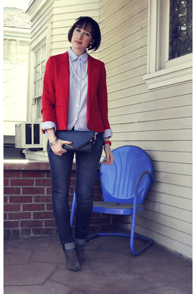 red thrifted vintage blazer - suede booties ASH boots
