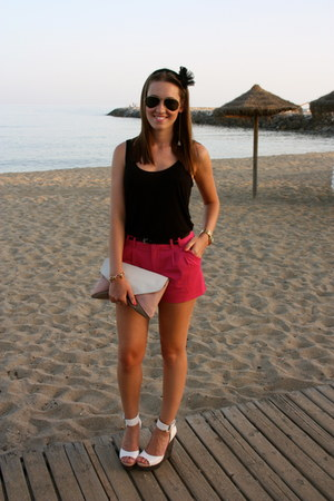 light pink BLANCO bag - hot pink H&M shorts - Aldo wedges - black Bershka vest