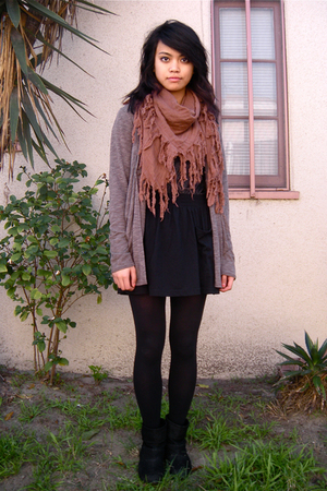 f21 cardigan - BDG boots - Target tights - UO scarf - American Apparel skirt
