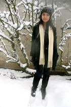 UO sweater - Zara blouse - UO boots - Levis jeans - unknown scarf