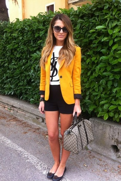 mustard Zara jacket - grey Gucci bag - black Zara shorts