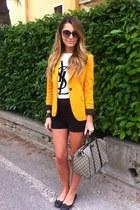 mustard Zara jacket - grey Gucci bag - black Zara shorts