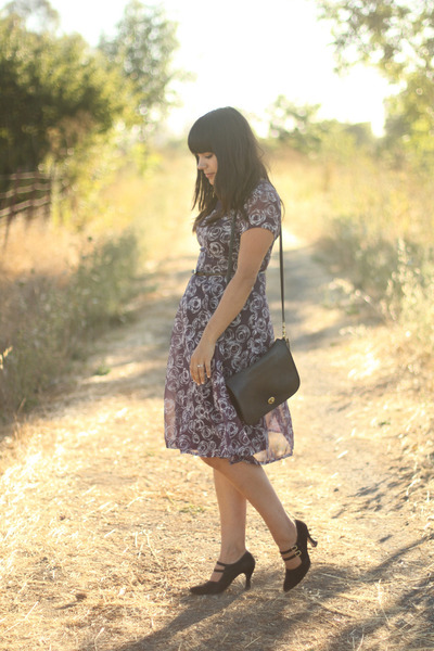 black coach bag - purple vintage dress - black thrift heels - black vintage belt