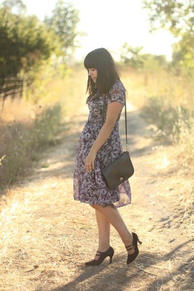 black coach bag - purple vintage dress - black thrift heels - black vintage belt