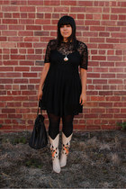 black vintage dress - tan vintage boots - black American Apparel tights