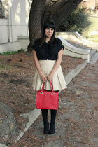 black American Apparel tights - ruby red vintage bag - black vintage blouse