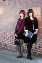 black American Apparel tights - maroon vintage dress - ivory Anne Taylor blouse