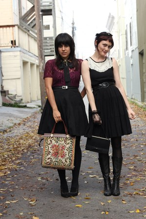 black vintage skirt - crimson vintage blouse - beige vintage bag - black H&amp;M dre