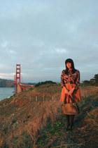black vintage purse - black American Apparel tights - mustard vintage skirt
