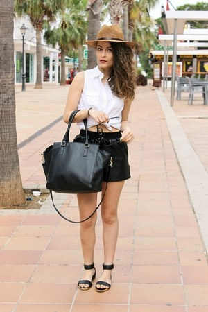 black H&M bag - white sleeveless Pimkie shirt
