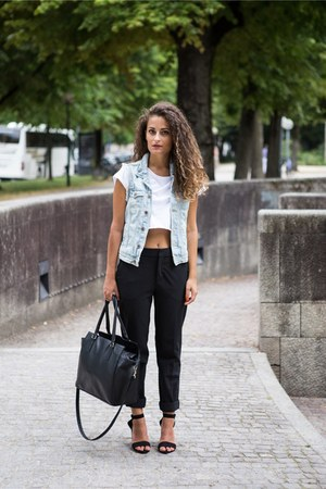 white crop Pimkie top - black H&M bag - black Zara pants