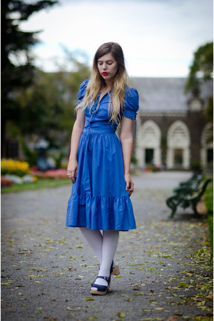 blue thrifted vintage dress - white opaque asos tights