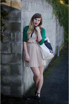 neutral pleated Vero Moda dress - beige cat modcloth bag