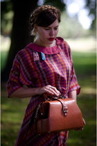 bubble gum checkered thrifted vintage dress - tawny doctor Golden Ponies bag