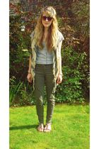 gray H&M t-shirt - green Zara pants - brown Peacocks - green wild clothing scarf