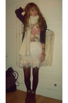 brown H&M cardigan - beige Topshop top - beige River Island skirt - beige H&M sc