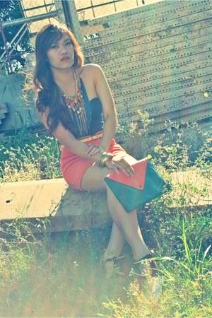 teal envelope bag Lu Liam bag - carrot orange Copper skirt
