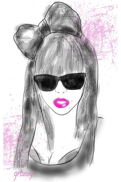 pink lips accessories - black Hair accessories