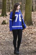 black New Yorker bag - blue cotton New Yorker sweater - black H&M heels