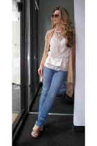 pink tank top top Victorias Secret blouse - beige Jimmy Choo shoes