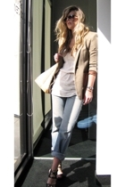 brown calvin klein shoes - beige knit tunic Heritage dress - blue Levis jeans