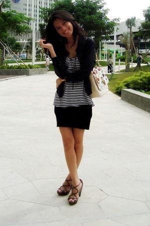 black Gaudi cardigan - white store in singapore top - black ecru skirt - beige G