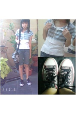 blue blazer - white shirt - blue Sunly Fashion jeans - black Converse shoes