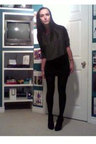 gray wilfred shirt - black American Apparel skirt - black Forever 21 stockings -