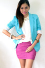 Hot-pink-skirt-turquoise-blue-suit-eggshell-top-hot-pink-heels