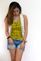 yellow aztec tank top top - blue denim shorts - cream vest - brown accessories