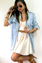 sky blue denim top - ivory bustier dress - brown heels - brown braided belt