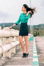 Teal-blouse-black-bandage-skirt