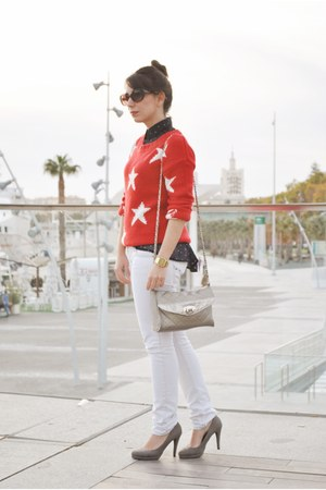 clockhouse sweater - Dunnes bag - romwe blouse - Lefties heels