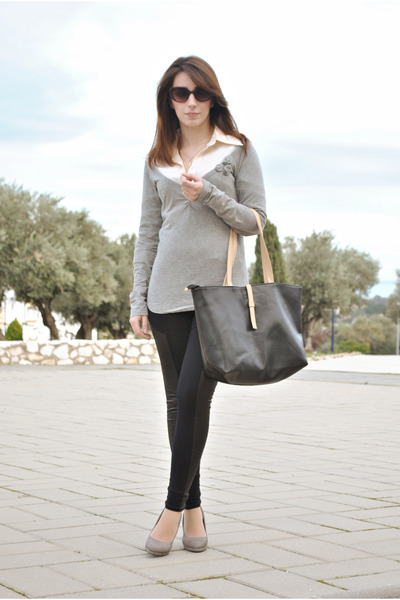 Sfera sweater - chicnova leggings - Massimo Dutti shirt - chicnova bag
