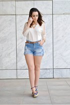 romwe shorts - OASAP top - Marypaz wedges