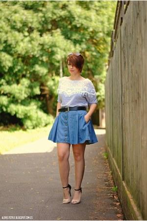 new look skirt - mark & spencers belt - Yesfor top - Anne Michelle heels