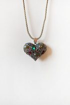 Colorful stones heart necklace