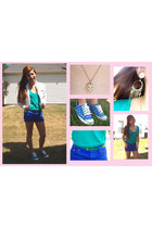 teal American Eagle shirt - coach shoes - white Members Only jacket