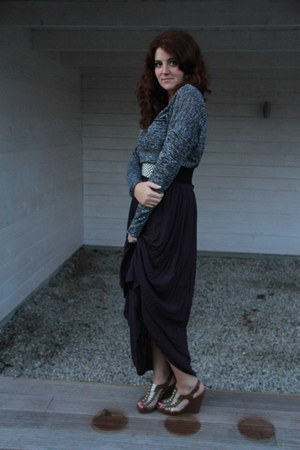 purple new look skirt - heather gray H&M sweater - periwinkle leeloo belt