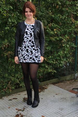 black H&M boots - white H&M shirt - black H&M vest