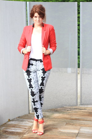 red Pimkie blazer - black H&M pants - white H&M top - red Zara heels