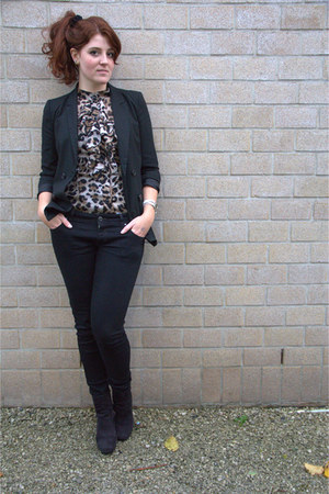 bronze vintage blouse - black Bershka blazer - black c&a pants