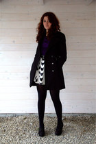 purple vintage blouse - black Lola&Liza coat - white H&M skirt