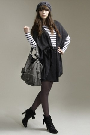 cardigan - boots - skirt - stripe top