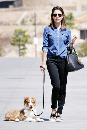 blue Levis shirt - black Zara pants - light brown Sperry Top Siders flats