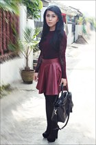 lace new look top - black Zara shoes - black leather Guess bag