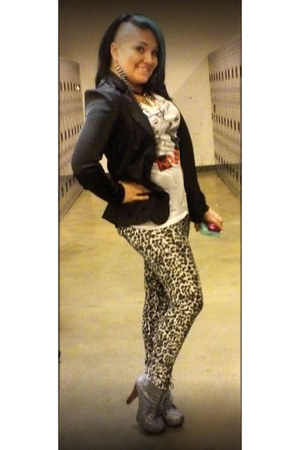 black thrifted blazer - silver Charlotte Russe boots - white Rue 21 shirt
