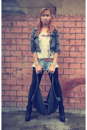 studded jacket jacket - ankle booties boots - mens tee shirt - tights